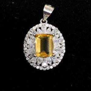 Citrine Pendant w/ CZ &  Sterling Silver Chain